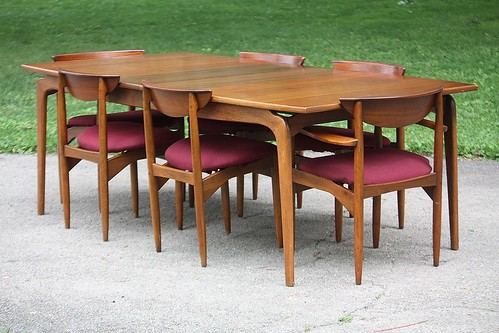 Motivating Lane Perception Midcentury Modern Sculptural Walnut Dining Table  And Chairs (U.S.A. 1961)