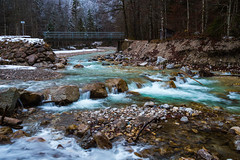 Winter Scene, Garmisch-Partenkirchen (danjama) Tags: bavaria germany eibsee landscape travel partnachklamm partnachgorge partnach gorge garmisch canon6d lake frozen canon2035usm zugspitze nature breathtaking scene winter emerald river trees forest riverbed water outdoor creek canon 2035