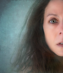 I did my best, it wasn't much, I couldn't feel, so I tried to touch, I've told the truth, I didn't come to fool you (sparkleplenty_fotos) Tags: mouth woman selfportrait face portrait eye green lips clouds dream surreal fantasy hallelujah sliders slid happysliderssunday hss