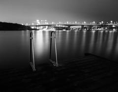 Night Lights (Tony Bokeh Larsson) Tags: bronicags1 pg50mm 120film 6x7 film outside stockholm water bridge vintage night monochrome blackwhite city urban longexposure