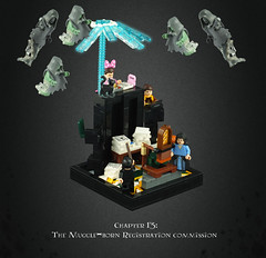 "Harry Potter and the Deathly Hallows 08 – ""You're Lying Dolores"" (Umm, Who?) Tags: lego harry potter deathly hallows jk rowling warner brothers ron hermione britain magic chapter 13 muggleborn registration commission dolores umbridge runcorn redge cattermole mary elizabeth mafalda hopkirk dementors expecto patronum stupefy"