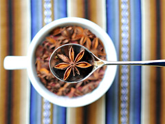stars in a spoon (brescia, italy) (bloodybee) Tags: 365project cup spoon cutlery star anise aniseed spices tablecloth stripes stilllife brown blue steel metal food
