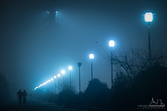 Going into the fog... (v.Haramustek) Tags: osijek slavonija croatia fog night dark lights lamps couple blue promenade darau drava walking