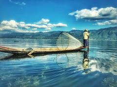 In my head I keep going back~ myanmar (~mimo~) Tags: shotoniphone7 iphone7 sky water blue reflective reflection boat fisherman burma myanmar nature lake inle