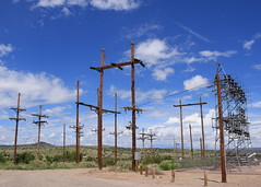 Blot on the Landscape (Helen Orozco) Tags: clouds wires poles telegraph substation satirical tomsharpe blott