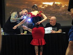 Too bad we couldn't see but still a nice view. (kennethkonica) Tags: light red people usa men tattoo america fun artwork women midwest sitting indianapolis seat butt contest makeup indy indiana convention sit horror cons clowns seated behinds canonpowershot vendors tatts marioncounty thatdamntattoocontest daysofthedays