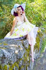 Betty Bleu (austinspace) Tags: summer woman classic floral hat rose vintage hair washington spokane dress purple retro pinup manitopark
