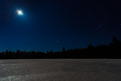 Shane Lake - Forests for the World (chrisleboe) Tags: longexposure night stars sky bluehour lake ice frozen snow moon