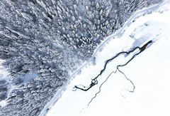 White cover (Chris Herzog) Tags: ifttt 500px aerial road forest windy drone switzerland bird view lake covered snow winter