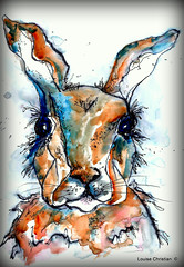 ELEGANT WRITER PEN BUNNY W/WC (Louise001) Tags: elegantwriterbunnywwc elegantwriterpen watercolor rabbit bunny animal art painting drawing