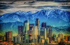 Mt Baldy behind the City (Michael F. Nyiri) Tags: losangeles california southerncalifornia skyline cityscape kennethhahnstaterecreationarea