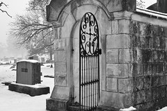 Greenlawn  (Explored 1-13-2017) (brutus61534) Tags: columbusohio cemetery black white fog crypt headstone gate