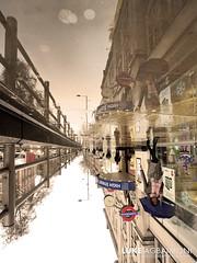 The Upside Down - High Street Kensington - London (Luke Agbaimoni (last rounds)) Tags: upside down upsidedown mirror reflection reflect rain umbrella tube underground roundel london streetphotography street symmetry