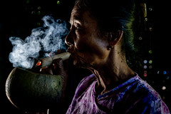 Lady Haze (gheckels) Tags: portrait portraiture myanmar burmese burma smoke haze travelphotography tobacco cigar myanmartravelphotography bagan lady people candid