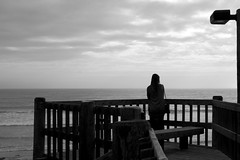 She Waits By the Sea (thisbrokenwheel) Tags: ocean sea blackandwhite lajolla pacificocean pacificbeach