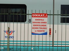 Ankara 'Gar' (Steve Hobson) Tags: ankara gar station tcdd warning sign ht80000 siemens valero velaro