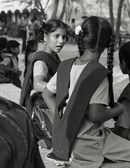 the conversation (Dean Forbes) Tags: students school india tamilnadu bw candid