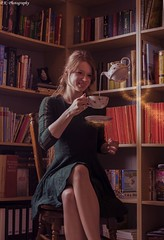 Sunday's magical tea time (patrick.kerstin) Tags: tea time magic levitation sparks portrait books surreal photoshop