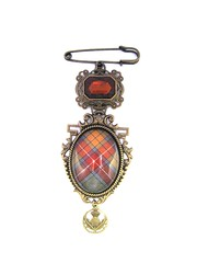 Ancient Romance Series - Scottish Tartans Collection - Buchanan Old Sett Weathered Tartan Ornate Filigree Kilt Pin Brooch with Thistle Charm and Topaz Glass Gem