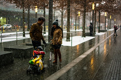 Family Walk in the Snow (Leo Teles) Tags: newyork snow family walk lights wtc memorial path trees
