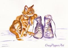 Puss 'n Boots (GREY PEPPER ART) Tags: cats kittens ginger marmalade tabby art watercolour felines pets boots