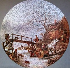 A Winter Scene with an Inn by a Frozen Stream (pefkosmad) Tags: jigsaw puzzle hobby leisure pastime complete winterscene vintage art painting isackvanostade circular
