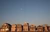 The moon hovers above Manasquan as the sun reflects off beach houses. (apardavila) Tags: jerseyshore manasquan manasquanbeach beach beachhouse moon sand sun sunrise