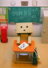 Ready for Class? (Antique Wolf) Tags: danbo revoltech rement mini samples high school memory re ment desk book bag locker robot toy toys doll dolls cute adorable sweet kawaii