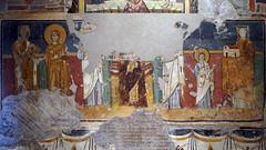 Madonna and Child Enthroned with Saints and Theodotus dedicating Santa Maria Antiqua to her, c. 741-752, Santa Maria Antiqua, Rome