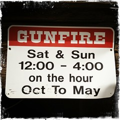 Gunfire (Midnight Believer) Tags: goldfieldarizona sign signage hipstamatic iphoneography americansouthwest mammothmine gunfire guns weapons warning weekends