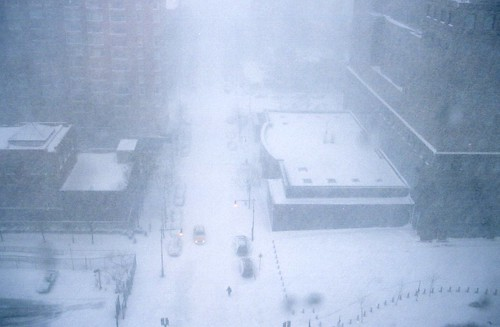 The blizzard from our hotel room