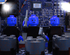 Blue Man Group (Kaptain Kobold) Tags: blue music topf25 rock hammer catchycolors drums cool fantastic catchycolours lego notes stage topv999 group interestingness1 livemusic band 100v10f explore excellent topv777 performanceart minifigs performers audio thecomplex myfave circuitboard screwdriver bluemangroup 1on1 moc serifphotoplus kaptainkobold firstthought manipulatedpicture yourfave i500 notkraftwerk