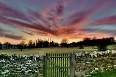Painted sky (Robert Silverwood) Tags: sunset sky field stone wall clouds wow wonder ilovenature topf50 gate topv1111 oxfordshire hdr oxon photomatix interestingness44 i500 1000v40f widford