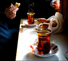Istanbul - tea on the Bosphorus by widderson old school + still censored