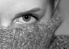 Sore Throat (Maytyra) Tags: blackandwhite bw white black eye girl face up look contrast self close eyelashes body head ill portraiture jumper features contact potrait throat gaze pupil wooley sore sorethroat