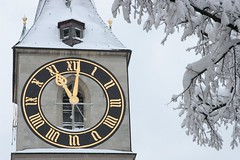 oneaftereleven (Dreamer7112) Tags: winter snow tree 20d clock church schweiz switzerland europe suisse suiza time canon20d branches zurich canoneos20d steeple snowdays snowing zürich svizzera zuerich treebranches clocks stpeter winterwonderland eos20d zurigo sightseeingzurich latemarchsnow everydaylifeinswitzerland recordsnowfall
