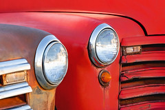 Chevy Lights (Todd Klassy) Tags: auto old light red sky color colour classic lamp beautiful wisconsin truck vintage landscape outdoors design rust automobile antique fineart machine pickup front grill dent vision chevy vehicle headlight grille wi stockphoto artistry 3100 stockphotography royaltyfree greencounty rightsmanaged