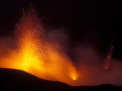 Eruption of Stromboli seen from the summit (Thomas Reichart ) Tags: red orange wow lava volcanoes eruption vulcano stromboli eolianislands vulkane