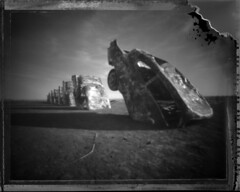 Cadillac Ranch 02 (darylfurr) Tags: 1025fav wow polaroid cool route66 texas pinhole amarillo 4x5 cadillacranch type55 specobject
