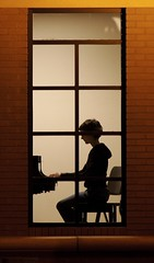 Pianissimo (Mr Geoff) Tags: woman window silhouette night piano practice interestingness2 i500