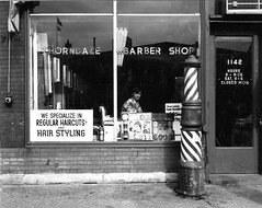 Thorndale Barber Shop 1976 (westvillagebob) Tags: chicago shop graphic barbershop barber storefront 4x5 crown 1976