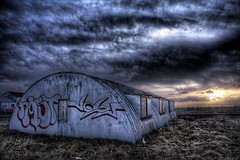 Barrack ... (asmundur) Tags: sunset building abandoned iceland 100v10f reykjavik hdr march2003 barrack photomatix
