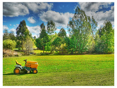 lunch break (Brenda Anderson) Tags: sky green grass lawn land mower hdr ourhome curiouskiwi pse3 3xp photomatix brendaanderson curiouskiwi:posted=2006