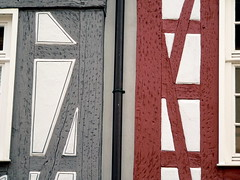 Half & Half Timbered (oefe) Tags: red rot grey lovely1 gray grau durlach halftimbered fachwerk