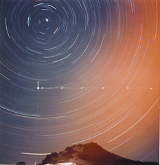 Mt. Hood / Meteor / Airliner (StarmanMike) Tags: sky mountain snow painterly mountains night oregon stars volcano or lightleak astrophotogr