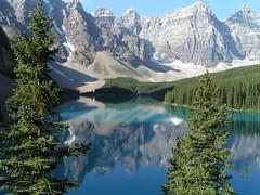 Lake Moraine Reflection (dd46 tr) Tags: blue lake canada mountains green water landscape alberta relection mostfavorited moraine banffnationalpark valleyofthetenpeaks lakemoraine