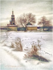 Winter Borovsk. (odinvadim) Tags: mytravelgram paintfx textured textures iphone editmaster travel iphoneography sunset evening iphoneonly church painterly artist snapseed landscape photofx specialist iphoneart graphic painterlymobileart winter