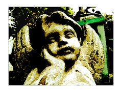 Guardian Angels (florian.b) Tags: engel face angel gesicht statue xmas weihnachten christmas laterne lamp latern leaves guardianangels stone grn stein schutzengel ps photoshop effect edited processing manipulated merrychristmas frohesfest 2412 december jesus froheweihnachten winter winterwonderland