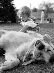 taming the wild beast (-Angela) Tags: 2005 blackandwhite dog fall topf25 canon 2550fav theson petting 2005top100faves toddlergallery