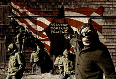 We Do Not Torture People - IV (Xylonets) Tags: usa fairytale america photoshop graffiti monkey quality politics iraq protest 100v10f 500v50f american antiwar torture monkeys spraypaint amerika neverland cinematic distress redwhiteandblue abughraib narrative americaloveitorliberateit antitorture xylonets